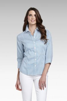 Foxcroft Wrinkle Free Wicker Print Blouse | Foxcroft Clothing