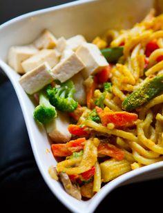 Creamy Garlic Udon Noodle Veggie Stir-Fry with Tofu