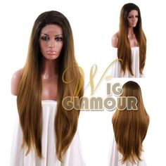 "18""-28"" Long Mixed Brown Straight Lace Front Wig Heat Resistant #Wigglamour #FullWig"