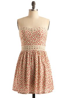 Sup-posy We Fall in Love Dress - Cream, Red, Green, Floral, Crochet, Lace, Trim, Casual, A-line, Strapless, Spring, Summer, Mid-length