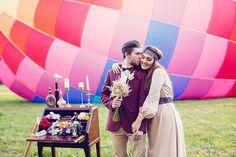 Свадьба в стиле бохо с полётом на воздушном шаре