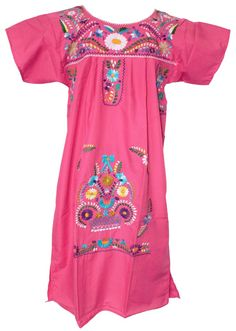 This is a Traditional Floral Mexican dress. This dress features beautiful hand-embroidered floral designs. This dress is also known as a Peasant dress or Puebla Dress. Traditional Mexican Dress, Traditional Dresses, Fabulous Dresses, Nice Dresses, Fiesta Dress, Pink Fashion, Women's Fashion, Fashion Women, Mexican Dresses