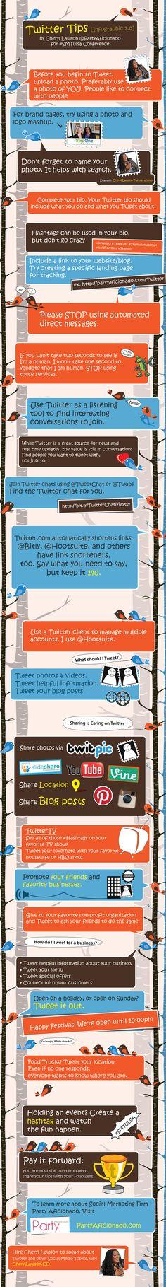 Hoe begin je met #Twitter? 'Twitter tips' #infographic by Cheryl Lawson