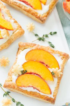 This peach tart recipe is bursting with fresh peaches, a creamy filling on a delicate puffed pastry! Are you ready for a new dessert recipe? I seem to be on a dessert kick lately Peach Puff Pastry, Easy Puff Pastry Recipe, Puff Pastry Desserts, Peach Tart Recipes, Thyme Recipes, New Dessert Recipe, Dessert Recipes, Dessert Aux Fruits, Sweet Tarts