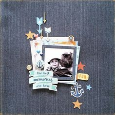 Scrap the Boys: April : My Daddy, My Hero challenge. Best Memories layout by Amanda Baldwin featuring Cocoa Vanilla Studio : Hello Sunshine collection