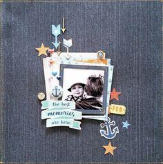 Scrap the Boys: April : My Daddy, My Hero challenge. Best Memories layout by Amanda Baldwin featuring Cocoa Vanilla Studio : Hello Sunshine collection