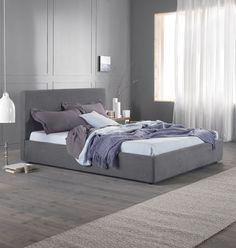"Modernes Bett ""D'Annunzio"" 180 cm grau - italienisches Polsterbett"