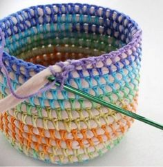 "hatandsandalsguy: ""podkins: "" COIL + CROCHET RAINBOW BASKET DIY Oooo I love this. I've been making some of these for myself, but this is a very helpful tutorial that I hadn't seen before. Crochet Storage Basket Pattern Lots Of Ideas An old t-shirt Crochet Diy, Crochet Home, Crochet Crafts, Yarn Crafts, Sewing Crafts, Crochet Ideas, Rope Crafts, Crochet Tutorials, Yarn Projects"