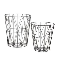 2 JANET metal baskets in black H 41cm and H 50cm