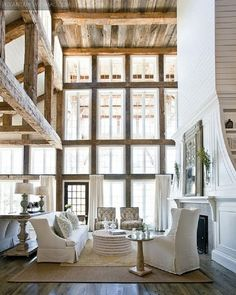 Love all the windows and the wood ceiling! #home #decor #livingroom