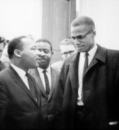 Martin Luther King, Jr. and Malcolm X meet before a press conference. Both men had come to hear the Senate debate on the Civil Rights Act of 1964. This was the only time the two men ever met; their meeting lasted only one minute.  26 March, 1964