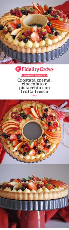 Crostata crema, cioccolato e pistacchio con frutta fresca Easy Pound Cake, Cheesecake Cupcakes, Angel Cake, Homemade Cakes, Cake Cookies, No Bake Cake, Afternoon Tea, Cake Recipes, Bakery