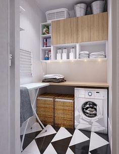 Zona de lavado y plancha en un cuarto de 4m2