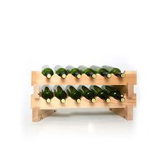 No tools required to assemble this stackable wine rack. Stack multiple sets of this small wine rack for more storage. Each set holds 12 bottles. Wine Rack Shelf, Wine Cellar Racks, Wood Wine Racks, Wine Rack Design, Wine Cellar Design, Wine Rack Inspiration, Small Wine Racks, Stackable Wine Racks, Home Storage Solutions