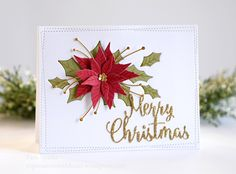 Memory Box Poinsettia Blooms and Holly Collage Christmas card….