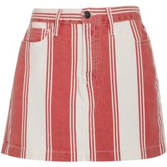 Frame Denim Le Mini Skirt ($215) ❤ liked on Polyvore featuring skirts, mini skirts, stripe, short pencil skirt, red skirts, stripe pencil skirt, striped pencil skirts and red mini skirt