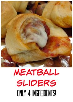 Meatball Sliders - only 4 ingredients! Frozen meatballs, marinara, mozzarella wrapped in crescent rolls. Great for a quick lunch or appetizer!