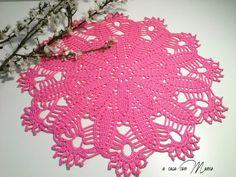Centrini colorati in pizzo a uncinetto cotone color rosa
