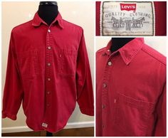 Levis Red Tab Red Denim Button Down Jean Metal Button Front Shirt size Large #Levis #ButtonFront