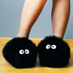 Totoro Soot Sprite Slippers. I can't decide if I want to laugh or buy these. Probably both