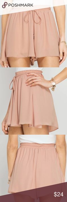 Pretty crinkled shorts w/ tie, champagne, NWT Pretty crinkled shorts w/ tie, champagne, NWT. Silk/polyester blend. 🚧🚨*please note: this item MAY take 7-10 days to ship out Shorts