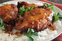 Crock Pot Garlic Brown Sugar Chicken - 326  4 star ratings - brown sugar, vinegar, lemon/lime soda, garlic, soy sauce, s/p