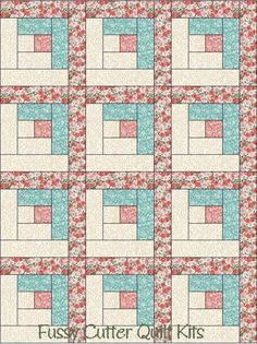 Coral Blue Flowers Floral Fabric Easy Pre-Cut Log Cabin Quilt Blocks Kit