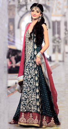 Dark Green/Deep Red Embroidered A-Line Crinkle Chiffon Wedding Special Lehnga by PakRobe.com