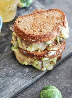 Balsamic Brussels Sprouts Grilled Cheese. | howsweeteats.com