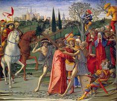 Benvenuto di Giovanni - Storie della Passione: Cristo portacroce - c. 1491 - tempera su tavola - National Gallery of Art, Washington