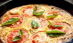 Make your breakfast pop with this quick but delicious Italian-style frittata full of fluffy baked eggs and juicy tomato slices. Paleo Frittata, Paleo Recipes, Egg Recipes, Real Food Recipes, Cooking Recipes, Paleo Meals, Spinach Leaves, Basil Leaves, Baby Spinach