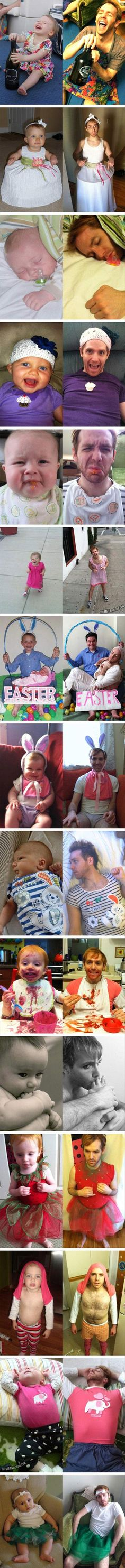 Funny Dad Copies Baby Pictures – Why did this make me laugh so much?! Haha