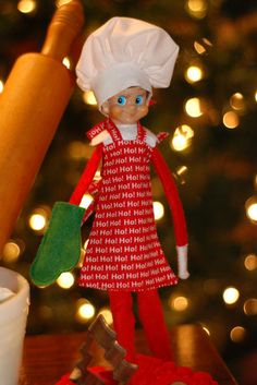 """Baker on The Shelf Red HO HO Apron Baker's Hat and Oven Mit for A 12"""" Elf 