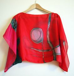 Silk blouse hand painted-Silk scarf handpainted-Wedding blouse-Scarves for her-kimono-Silk red-grey-pink blouse -43x18in (88 x 43cm) de gilbea en Etsy