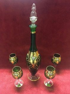 Vintage Venetian Murano Glass Hand Painted Emerald Green 24k Gold Decanter  Set
