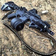 AR pistol. Eotech holographic sight, 50 rd drum mag, buffer tube wrist brace, magpul AFG.