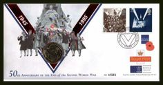 WWII First Day Covers   1995 SG 1873 50th Anniversary of the End of World War II with £2 Coin ... First Day Covers, One Day, 50th Anniversary, World War Ii, Postage Stamps, Wwii, Colours, History, World War Two