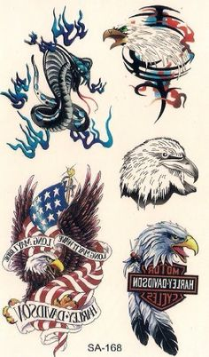 Harley Davidson Eagle Temporary Tattoos by Temporary Tattoos. $5.49. Easy to apply, easy to remove You can use different designs to go with any occasion or outfit. They do not leave any permanent marks like the real thing, so you have the option to change looks regularly! They are completely safe. Try some on and see what happens... you never know!!  How to apply:  1.Cut out tattoo of choice and remove clear sheet.  2. Place tattoo face down on skin  3. Wet th...
