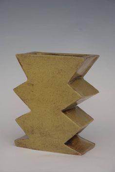 bkb ceramics Bud Vase yellow zig zag
