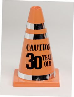 "plastic cone party favor reads ""Caution 30 Year Old"". Bright orange plastic, accented with shiny silver tape. 30th Party, 30th Birthday Parties, 50th Birthday, Birthday Celebration, Birthday Ideas, Birthday Favors, Party Party, Birthday Decorations, Hubby Birthday"