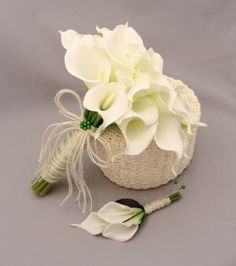 Real Touch Calla Lily Bridal Bouquet Grooms Boutonniere in White Accented with Jute Bow - Choose Colors for Custom Calla Lily Bouquet via Etsy