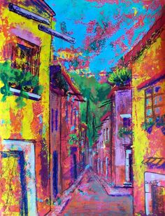 Original art evening  San Miguel street Mexican by MyMexicanArt, $92.00
