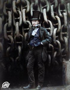 """Isambard Kingdom Brunel, considered """"one of the most prolific figures in engineering history,"""" 160 Years ago. Colorized Historical Photos, Historical Pictures, Black N White Images, Black And White, Isambard Kingdom Brunel, Art Fund, History Images, Great Western, Photo Colour"""