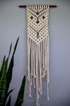 Macrame Wall Hanging - Natural White Cotton Rope w/ Wooden Beads - MADE TO ORDER