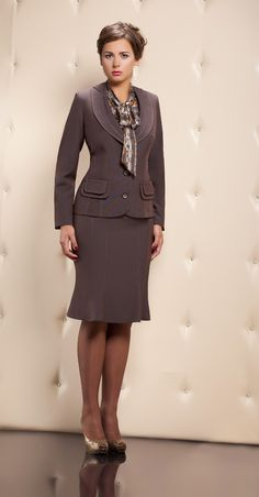 Gray Skirt Suit Sheer Pantyhose and High Heels