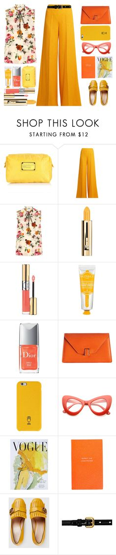 """""""Gucci top"""" by juliehalloran ❤ liked on Polyvore featuring Marc Jacobs, Emilia Wickstead, Gucci, Guerlain, Yves Saint Laurent, Skin&Co Roma, Valextra, ZeroUV, Art for Life and Smythson"""