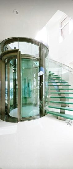 Glass Elevator and Staircase- | Via ✤ LadyLuxury ✤ Lift Mezzanine Penthouse Rooftop Stairs Circular