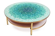 Anonymous, Mosaic & Patinated Brass Cocktail Table, 1950s.