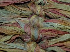 "Handpainted ""rag"" chiffon silk ribbon -   Stonehaven"