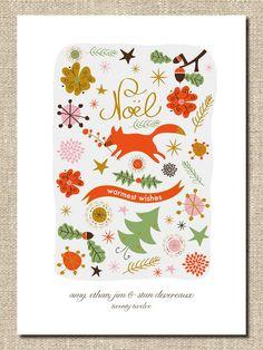 """christmas holiday card DIY printable """"fox de noel"""". $18.00, via Etsy."""